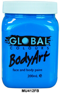 GLOBAL COLOURS FLURO BLUE FACE PAINT 200ML