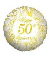 46CM HAPPY 50TH ANNIVERSARY GOLD ROUND FOIL BALLOON