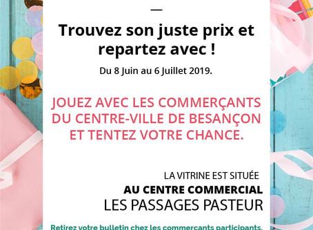 Besançon Centre-Ville : Une vitrine de cadeaux à gagner. Trouvez son juste prix et repartez avec !