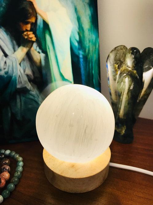 Selenite Sphere lamp (large)