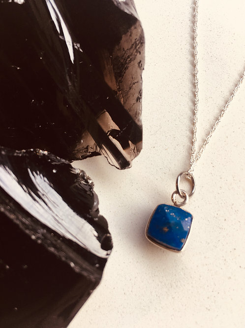 Lapis Lazuli Cube Pendant - Serenity, Harmony, Self-awareness