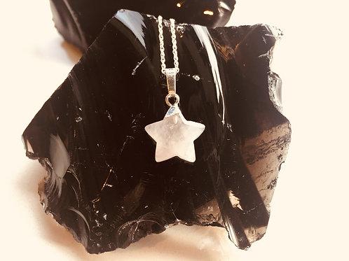 Rose Quartz Star Silver Pendant - Peace, Harmony, Love