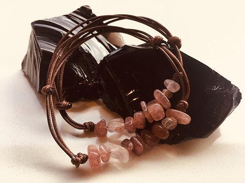 Strawberry Quartz Bracelet - Uplift, Energise, Stabilise