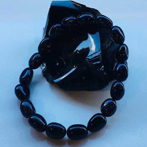 Blue goldstone Bead Bracelet