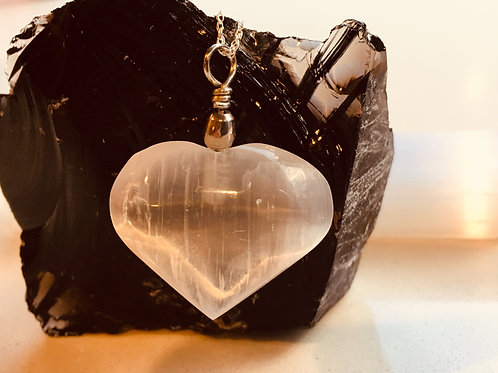Selenite Heart Pendant - Deep Peace, Spiritual Path, Clearing