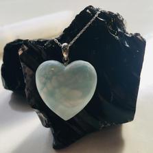 Sterling Silver Heart Hemimorphite Necklace