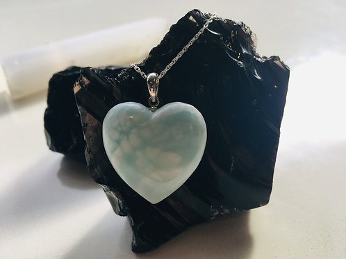 Hemimorphite Heart Silver Pendant - Grounding, Protective
