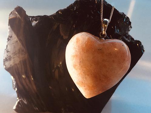Sterling Silver Sunstone Heart Pendant