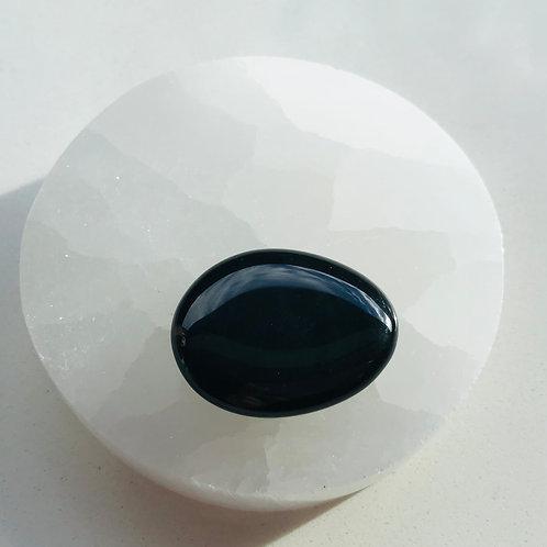 Small black obsidian palm stone