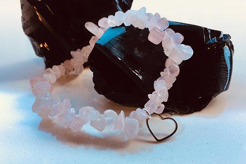 Rose Quartz Heart Bracelet