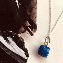 Lapis Lazuli cube Necklace with Sterling Silver Chain