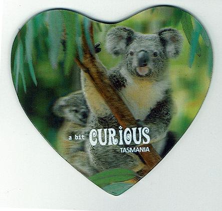 A Bit Curious Koala Heart Shaped Magnet