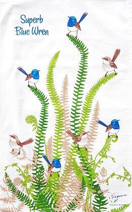 Heritage Isle Tasmanian Blue Wren Tea Towel