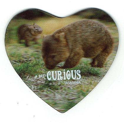 A Bit Curious Wombat Heart Shaped Magnet