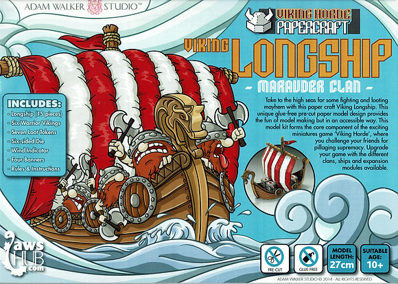 Viking Horde Viking Longship Marauder Clan 3D Cardboard Model and Game