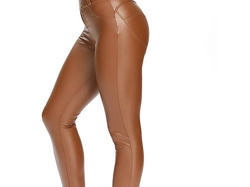 Foxy ( Feux Leather Pants- Khaki/ Carmel)
