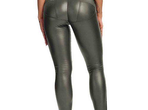 Foxy ( Feux Leather Pants- Dark:Olive Green)