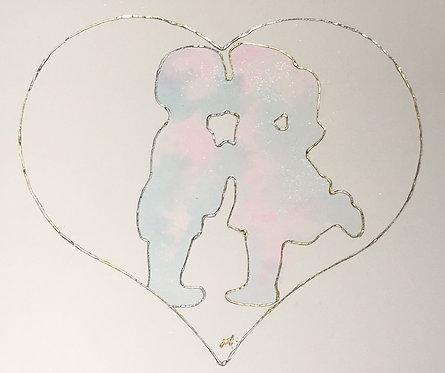 "Aquarelle Coeur Saint Valentin/ Watercolour Heart Valentine's Day ""You&Me"""