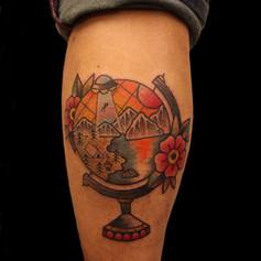 地球儀 花 トラディショナル タトゥー