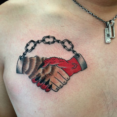 シェイクハンズ 悪魔 鎖 トラディショナル タトゥー