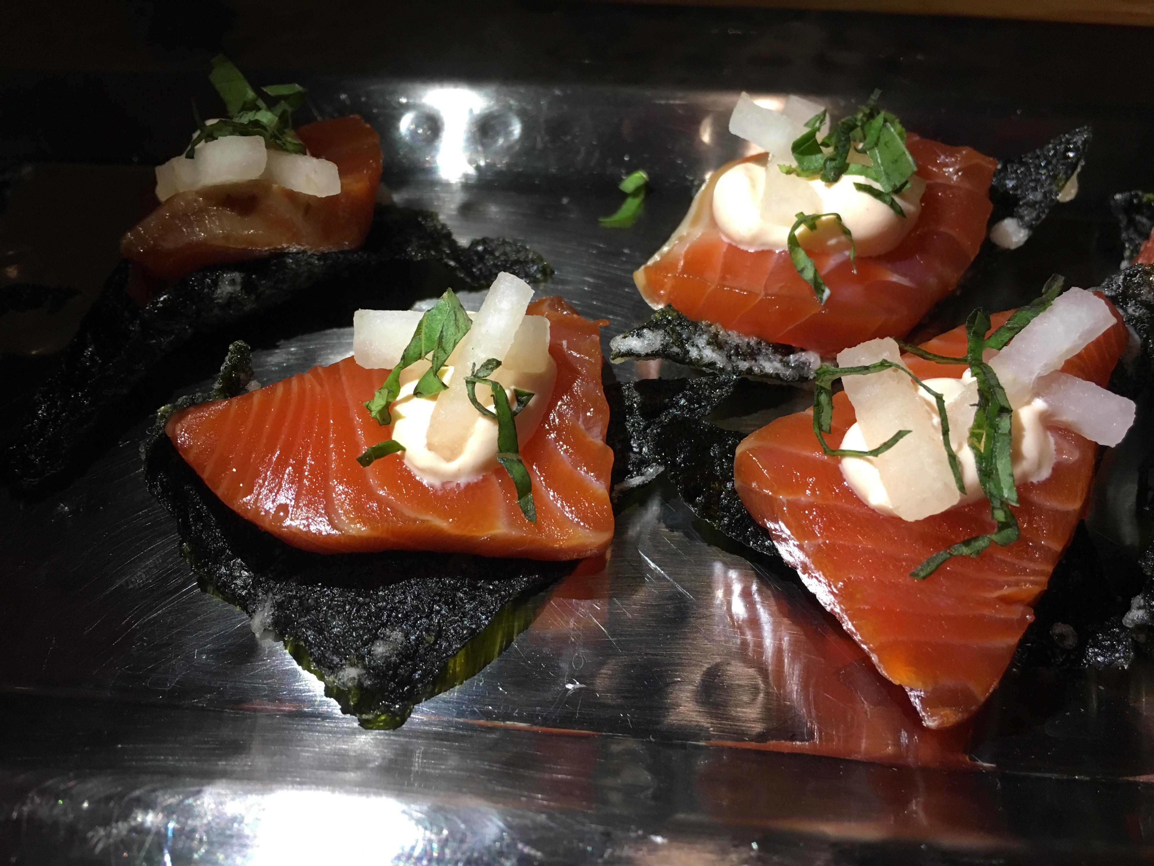 Cured spring salmon on crispy nori