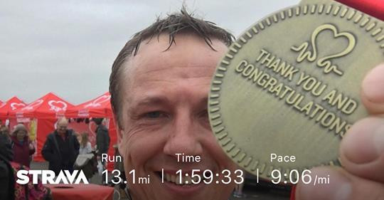 David Fawbert with finishing medal for the 2018 BHF Warwick Half Marathon