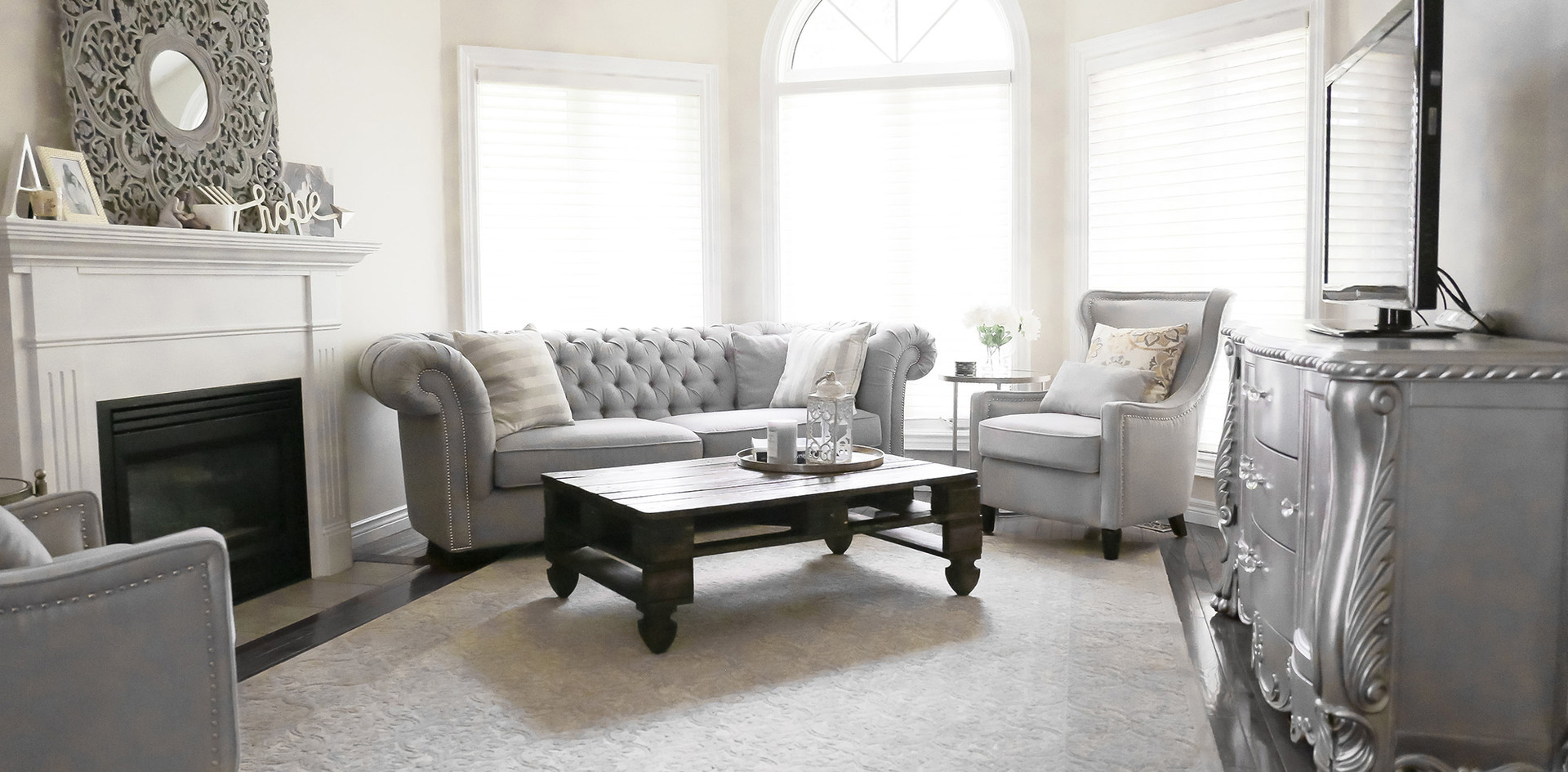 Living Room Design, Classic Neutral Grey