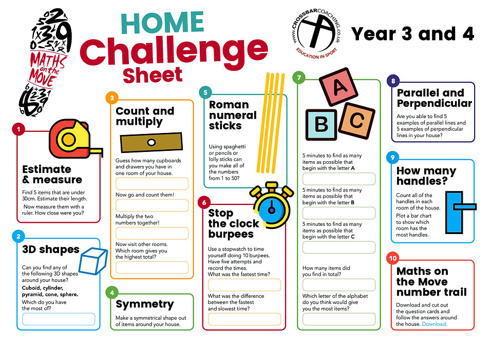 MATHS ON THE MOVE HOME CHALLENGE SHEET 3