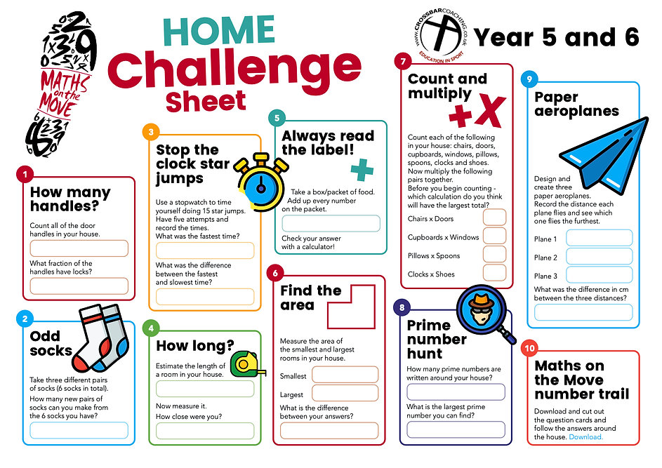 MATHS ON THE MOVE HOME CHALLENGE SHEET 5