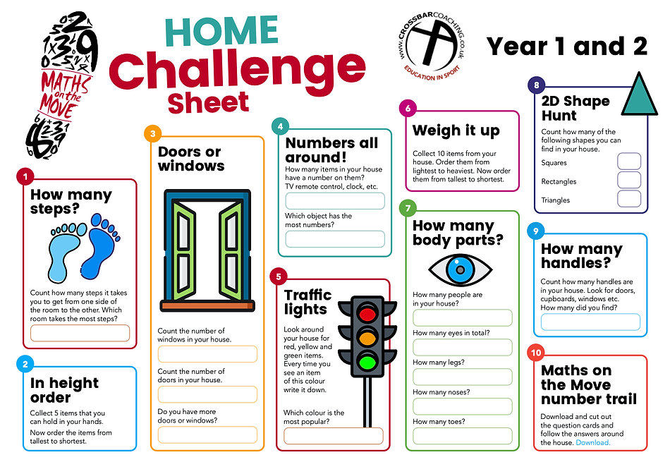 MATHS ON THE MOVE HOME CHALLENGE SHEET 1