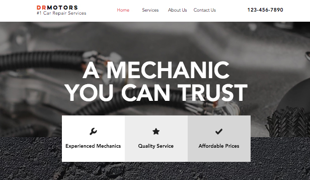 Virksomheter website templates – Car Repair