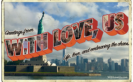 With Love Us postcard liberty with photo