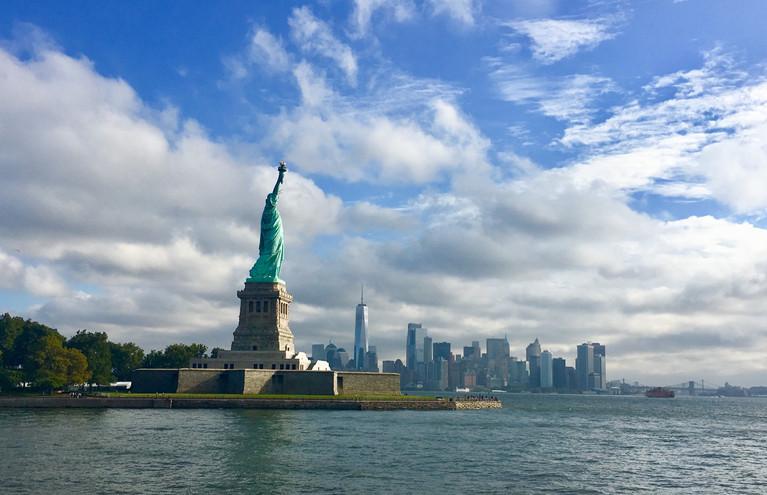 Statue of Liberty with Manhattan Skyline