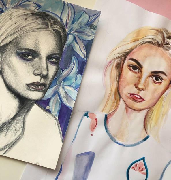 kaks portreed 2018 (pliiats + vesivärv)