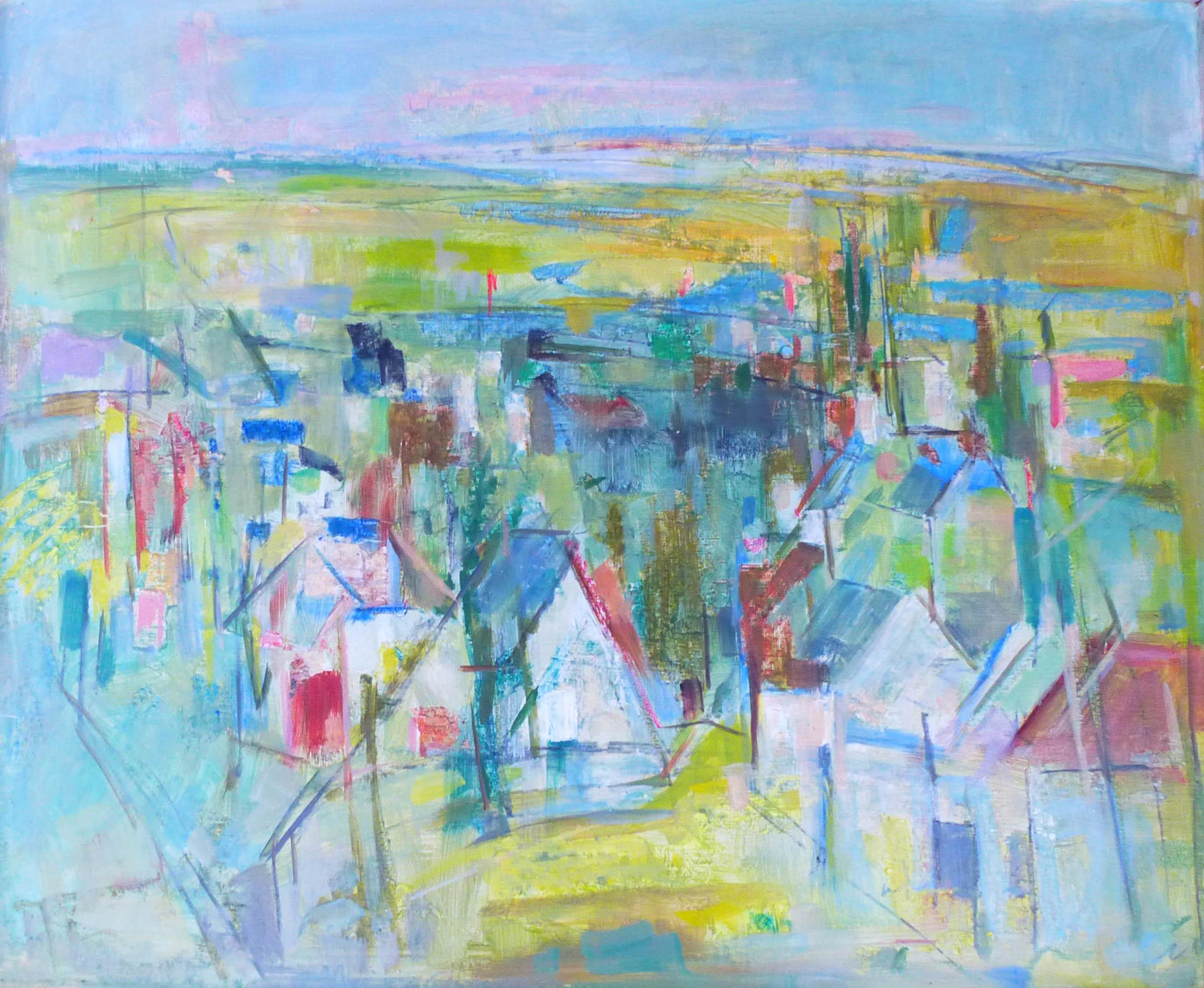 544. Village. Huile sur Isorel. 60 x 73.