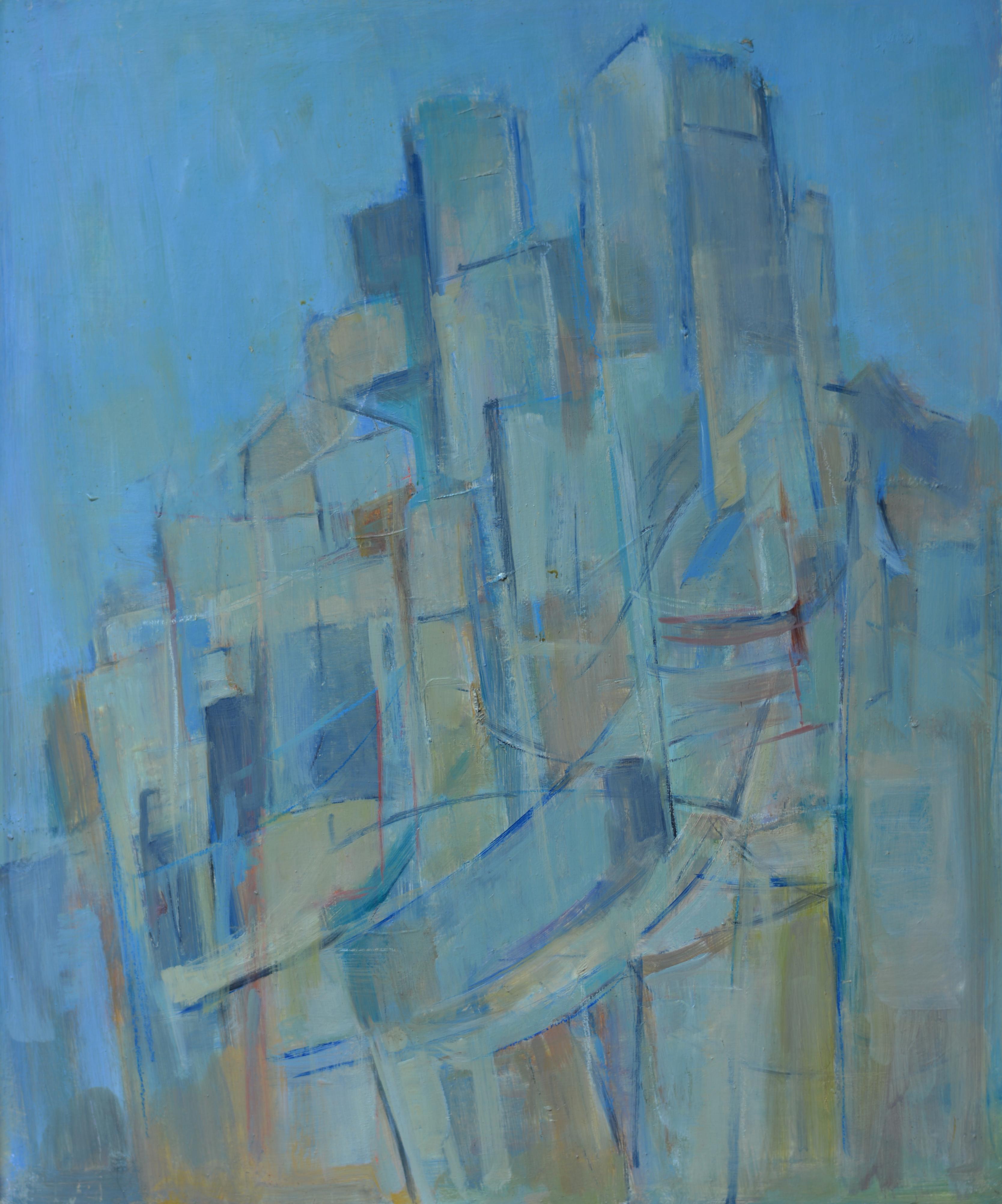 584. Ville Bleue. Huile sur Isorel
