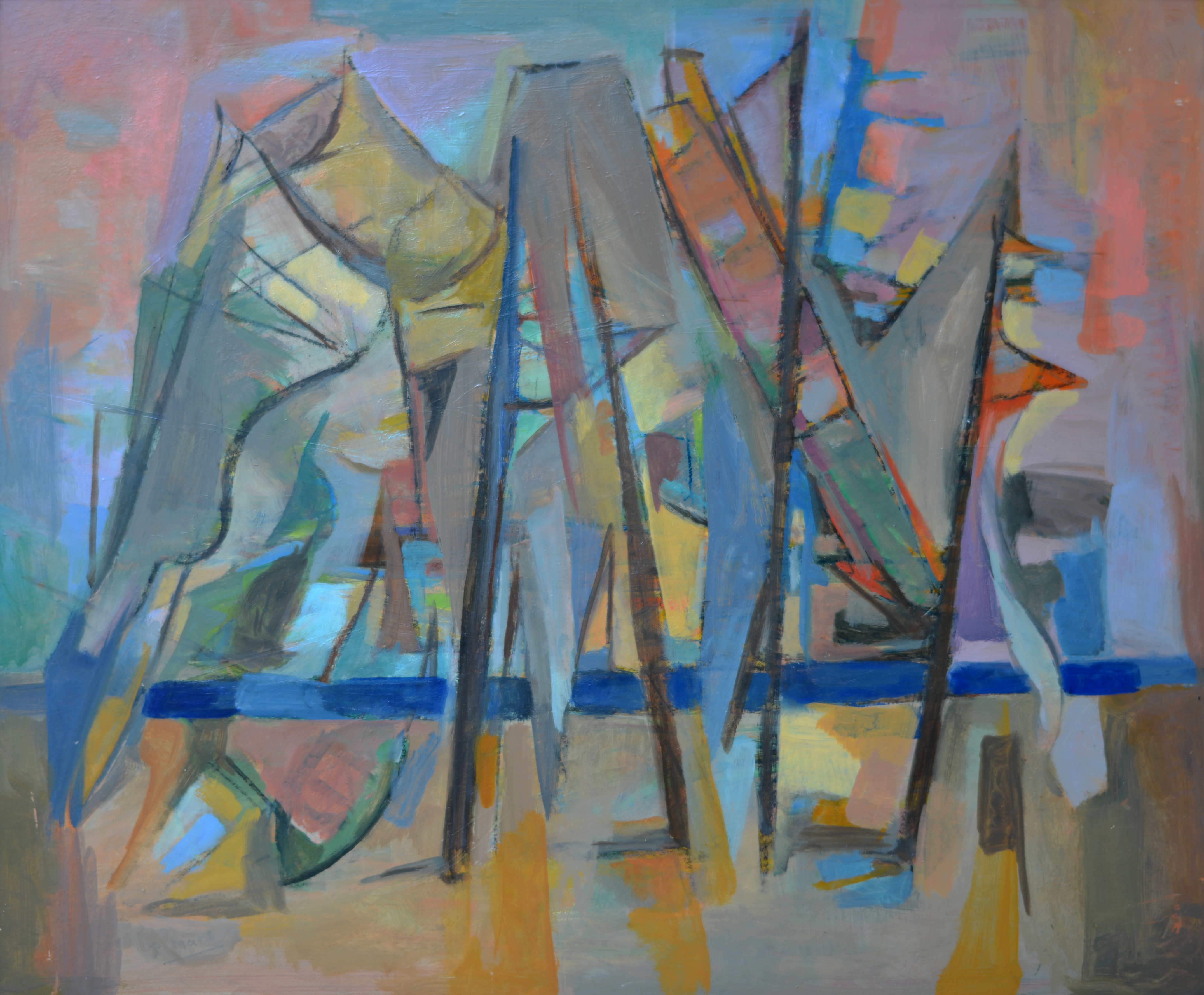 224. Abstraction. Huile sur Isorel