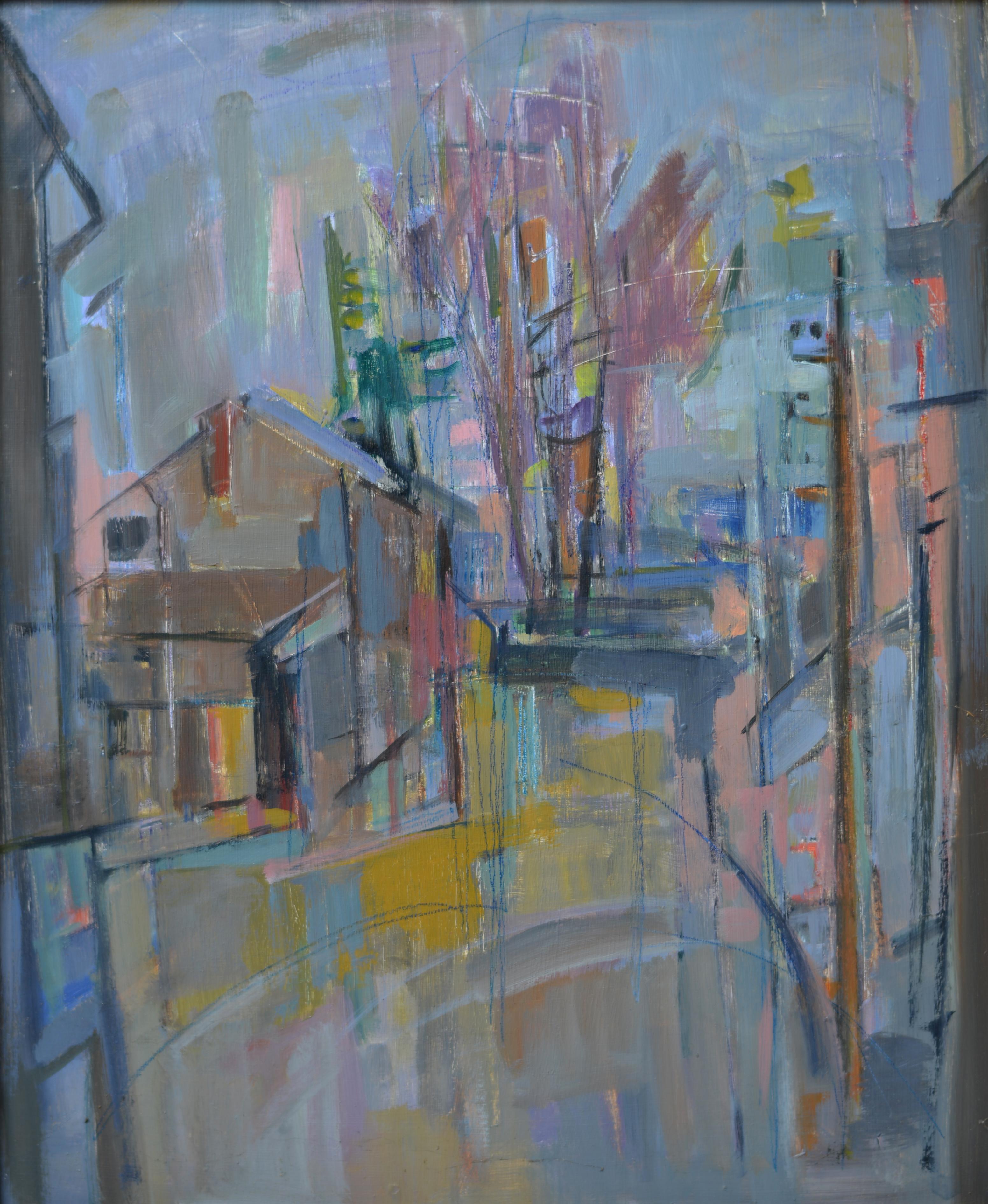 586. Village. Huile sur Isorel. 65 x 54.