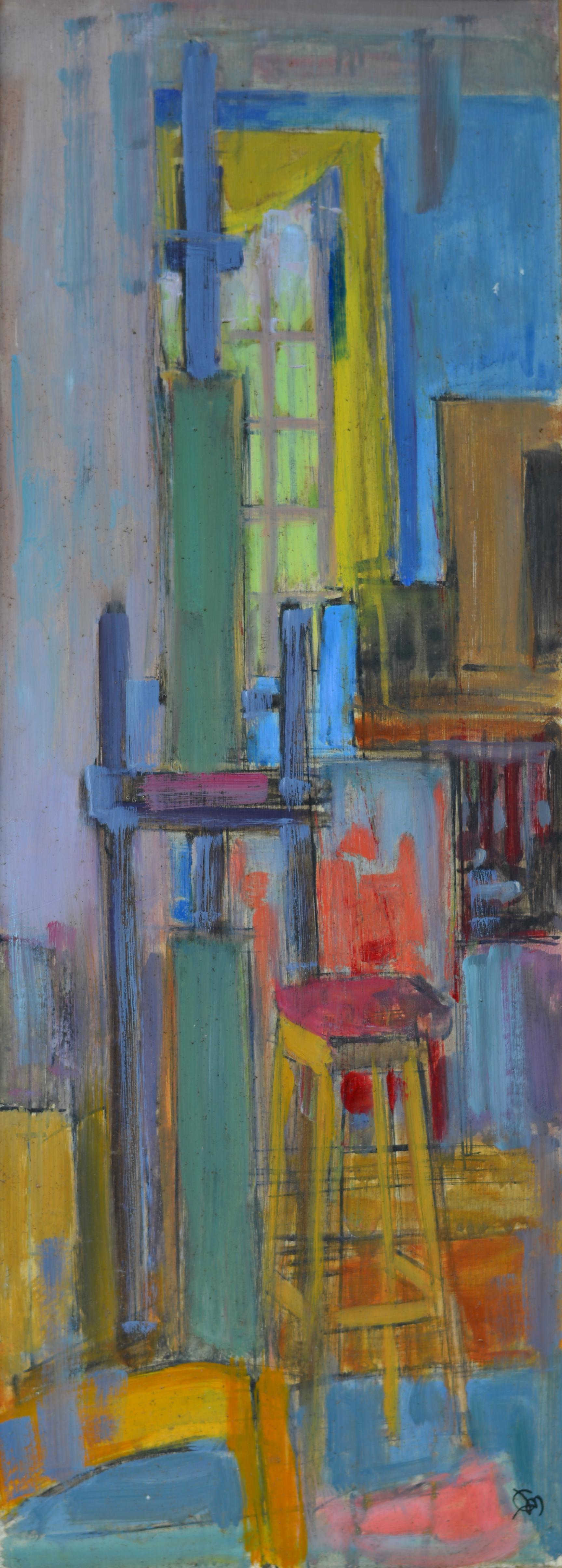 700. Atelier. Huile sur Isorel. 73 x 27.