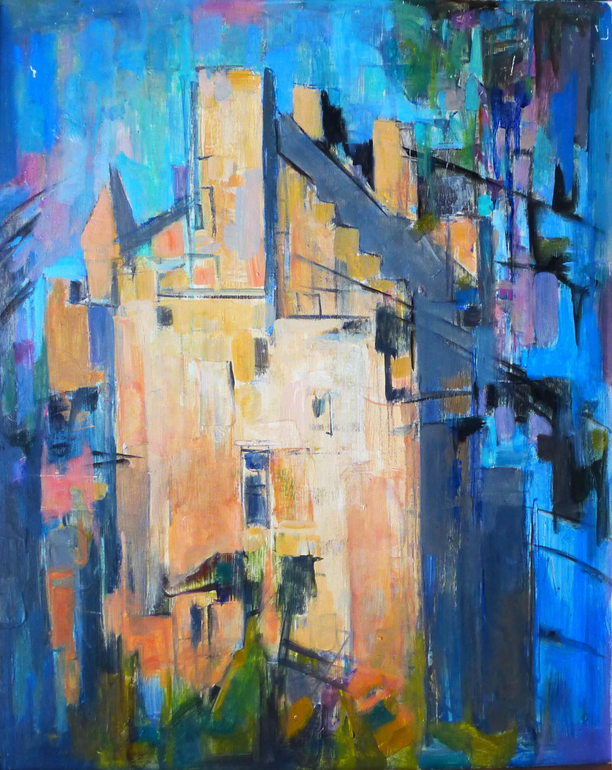 411. Maison. Huile sur Isorel. 61 x 50..