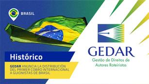 GEDAR anuncia la distribución del primer cobro internacional a guionistas de Brasil