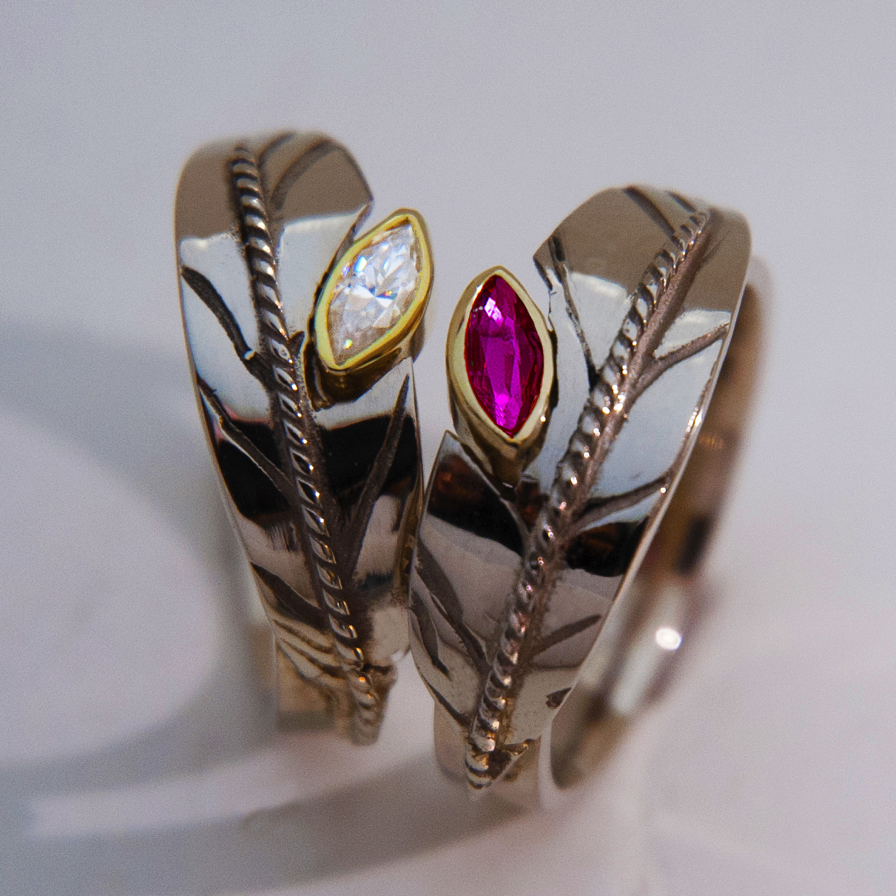 Eagle feather wedding rings Sun Flight