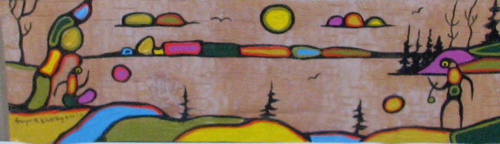 Legend of the Sleeping Giant birchbark painting Goyce Kakegamic