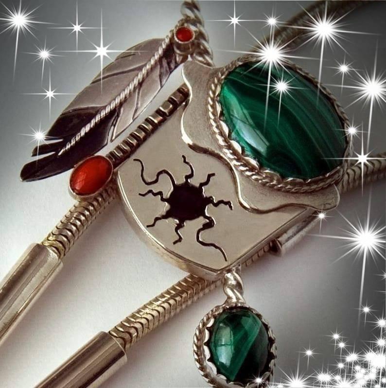 Ojibwe Midewiwin Drum bolo tie by Zhaawano Giizhik