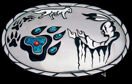 Wolf belt buckle by Native Woodland artist jeweler Zhaawano Giizhik