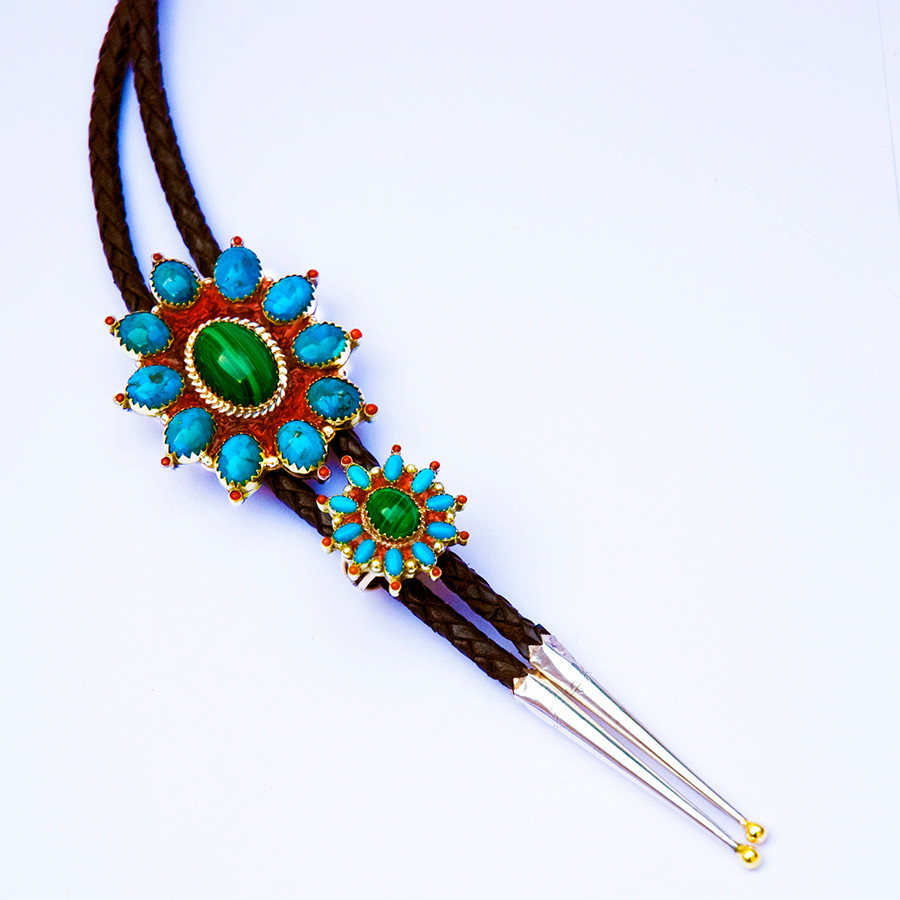 Giizhik-anang set of bolo tie and ring by Zhaawano Giizhik