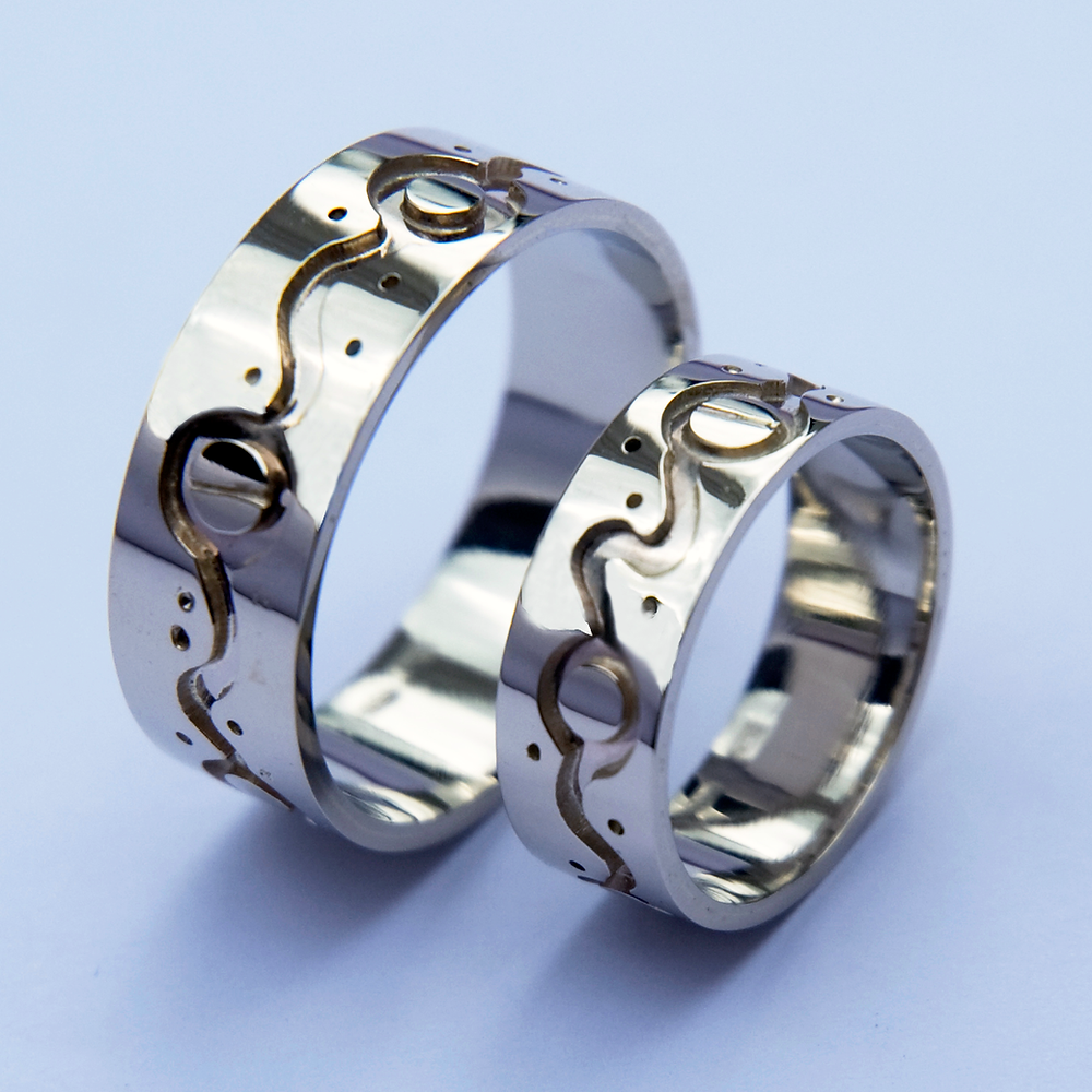 White gold Ojibwe graphic overlay wedding rings Zagaate Ziibi