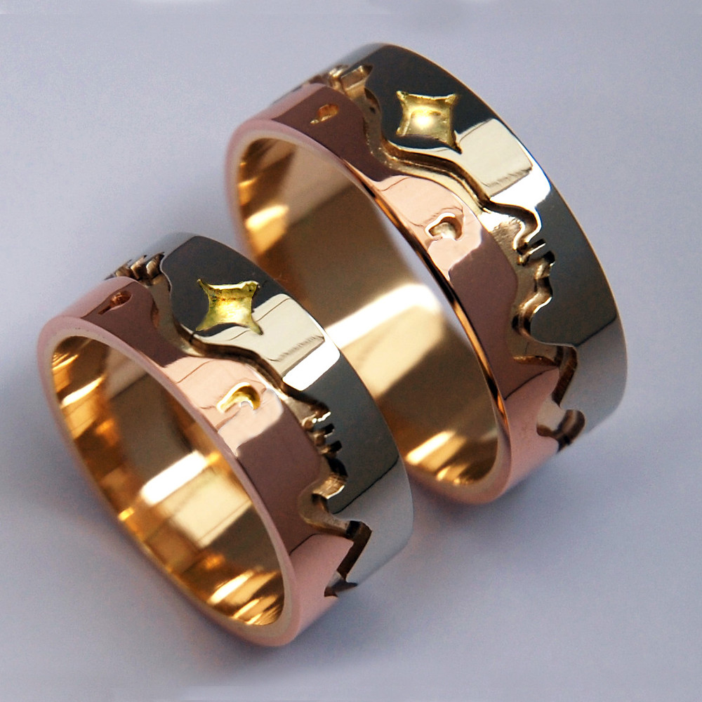 Like a Star in My Vision wedding rings by Zhwaawano Giizhik