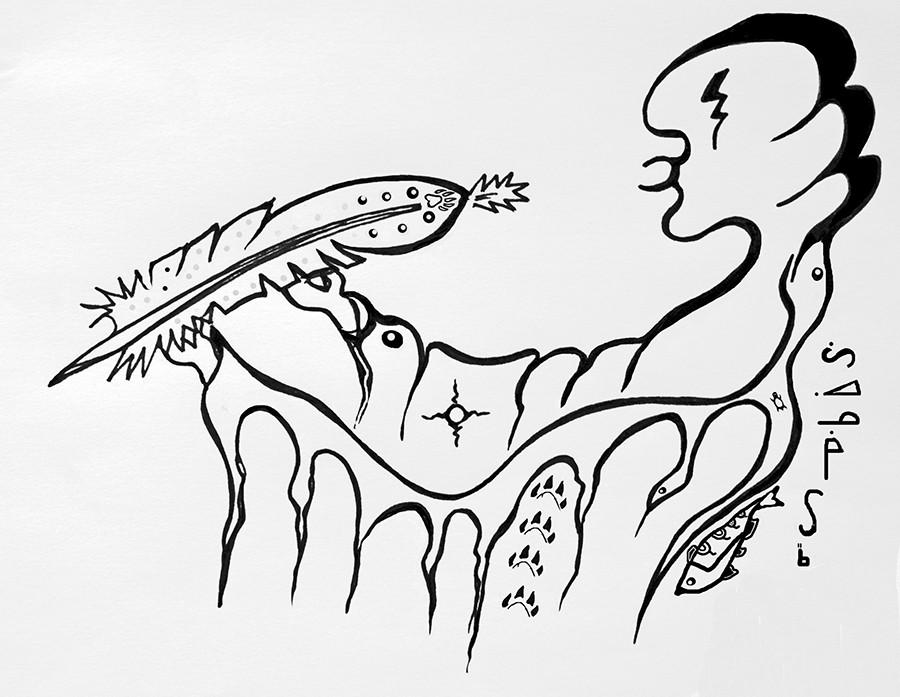 Gichi-manidoo drawing by Anishinaabe Woodland artist Zhaawano Giizhik