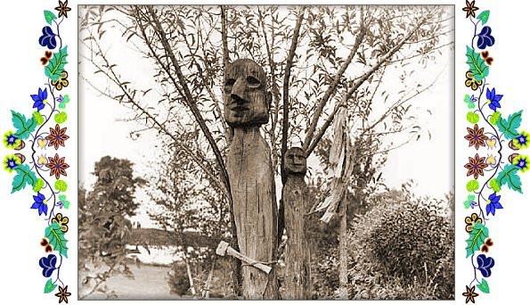 Baawating Ojibwe burial clan effigies